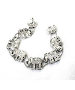 Elephant Slide Bracelet, Signed, Clear Rhinestones, Antiqued Silver, 198... - $18.50