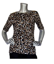 Karen Scott Printed Button-Detail Top Deep Black Vine Combo - $8.50