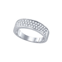10kt White Gold Womens Round Diamond Band Fashion Ring 1/2 Cttw - £297.94 GBP
