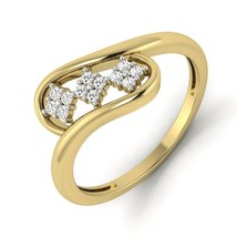 Yellow Fn 925 Silver Diamond Anniversary Ring Gift Unique Engagement Ring Womens - $79.99