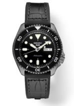Seiko 5 Mens SRPE25 Black Dial Automatic Rubber Band Watch - $262.35