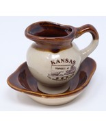 Topeka Kansas Ceramic Pottery Creamer Pitcher Saucer The Sunflower State... - $24.14