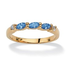 Birthstone and CZ 18k Gold-Plated Ring-September-Simulated Sapphire - $18.39
