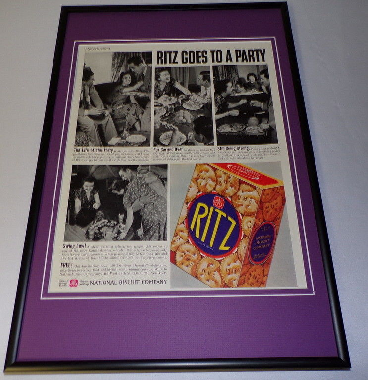 1937 Ritz Crackers Framed 11x17 ORIGINAL Vintage Advertising Poster image 1