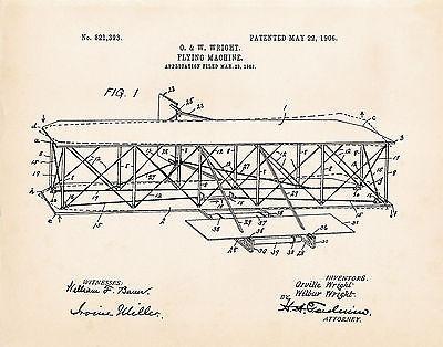 1906 Wright Flugzeug Zeichnung Luftfahrt Kunst Aufdrücke Patent Geschenke für