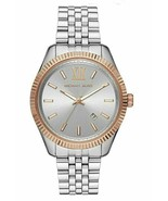 BRAND NEW MICHAEL KORS MK8753 LEXINGTON SILVER STEEL ROSE GOLD MEN'S WATCH - £109.21 GBP