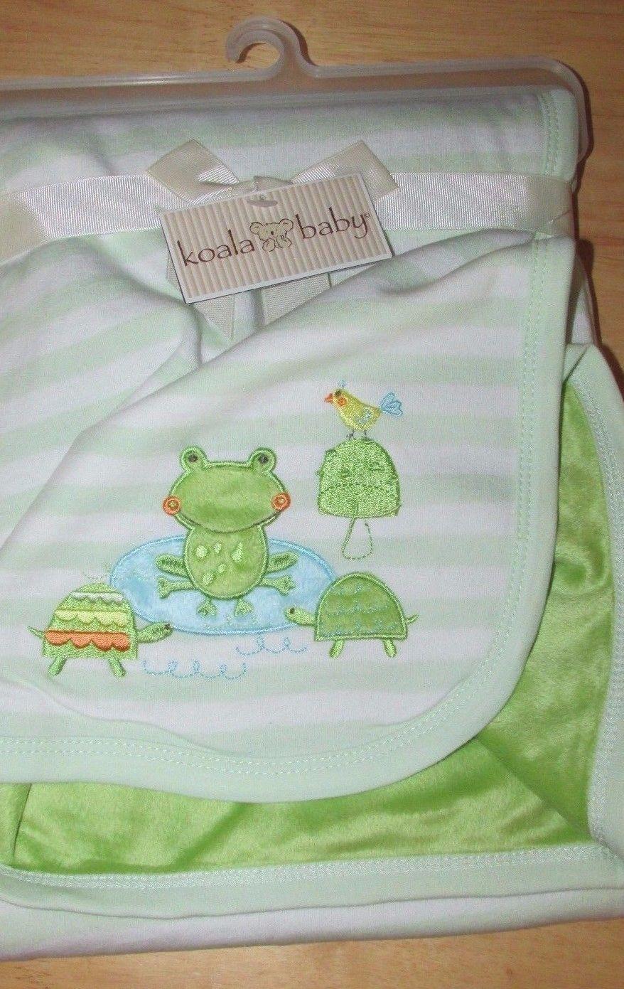KOALA BABY Light Green Brown Sherpa White Polka Dots Baby BLANKET Babies R Us