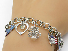 925 Sterling Silver - Vintage Pear & Topaz Assorted Charm Chain Bracelet... - $103.88