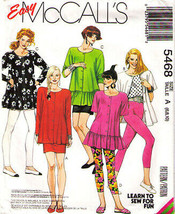 1991 Misses' Tunic, Skirt & Legins Easy Mc Call's Pattern 5468-m Sizes 6-10 Uncut - $12.00