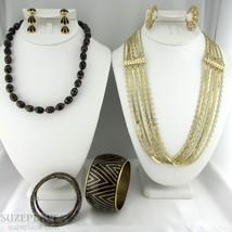 Jewelry Lot Black & Gold Tone 2 Necklace 2 Bracelet 2 Pair Earrings N API Er - $12.95