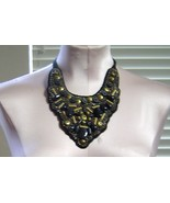 Vintage Beaded Tie on Collar Black and Gold - $24.99