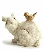 """Bunny Figurine with Gold Bird On Top 10.4"""" L Cream Color Garden Easter Gift"""