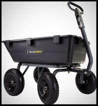 GORILLA Heavy Duty Dump Cart 4 Wheel Wagon Tow Behind Garden Yard Poly T... - $150.12