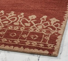 CravingCart 5X8 Desa Border Terra Cotta Woolen Handmade  Area Rugs & Carpet - $238.49