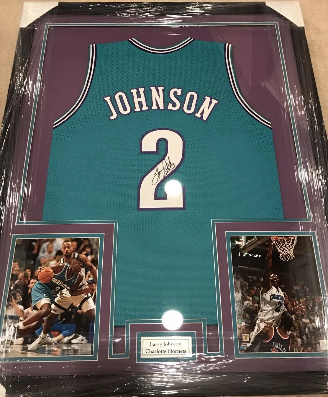 0327a427554 ... sweden framed autographed signed larry johnson charlotte hornets jersey  with coa 64e86 54e1b