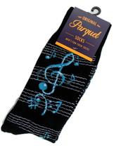 Blue Notes Mens Novelty Black Crew Socks Casual Cotton Blend Fun Musicia... - $12.95