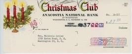 1958 Anacostia National Bank Christmas Club Check Xmas Graphics Candles - $10.00