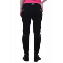 Equine Couture Ladies Sarah Knee Patch Breeches Black Size 24 NEW image 4