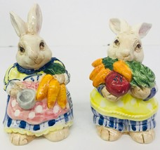 Fitz & Floyd Kitchen Kousins Bakin Bunnies Salt Pepper Shakers Handpaint... - $44.98