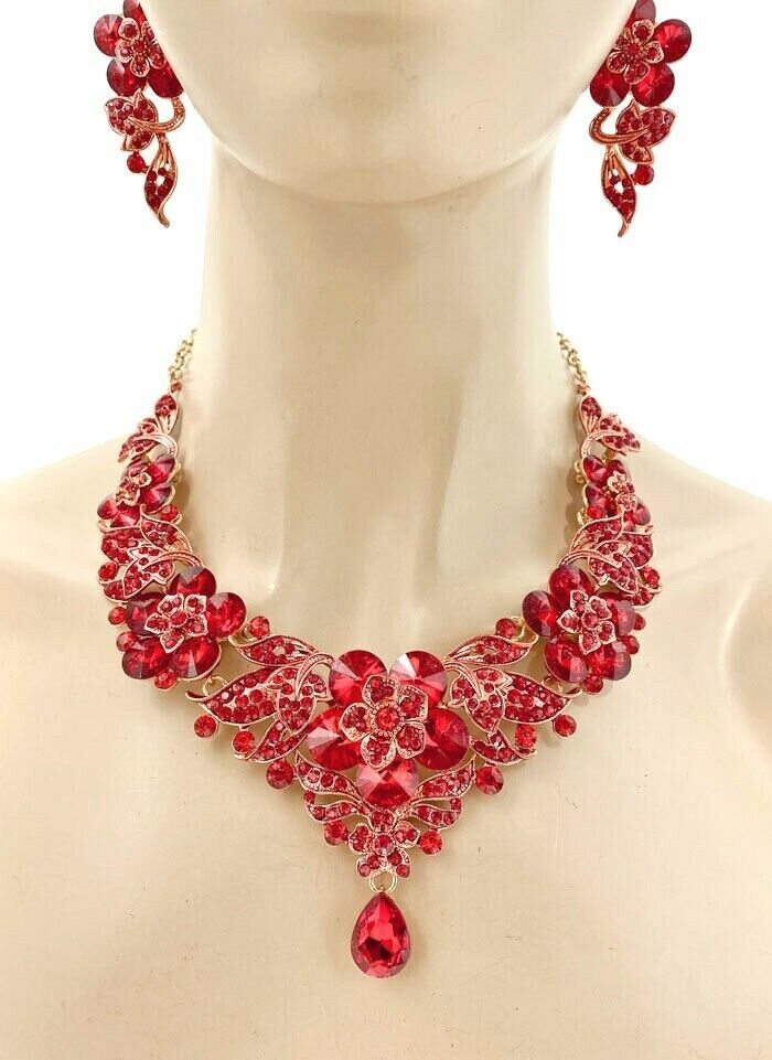 Primary image for Floret Statement Evening Wedding Necklace Earrings Red Crystal Drag Queen Prom