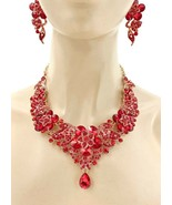 Floret Statement Evening Wedding Necklace Earrings Red Crystal Drag Quee... - $41.80