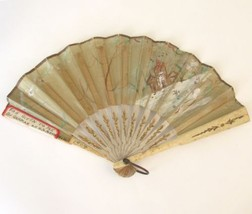 Antique Hand Fan Hand Painted House Flowers 8.5... - $87.00