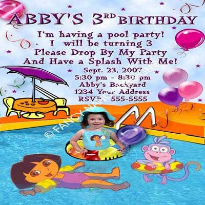 Dora The Explorer Go Diego Go Swimming Pool Photo Birthday Party Invitations