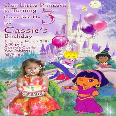 Dora The Explorer 1st 2nd 3rd 4th 5th 6th 7th Photo Birthday Party Invitations