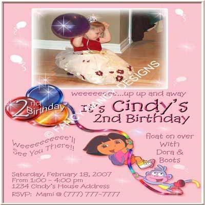 Dora The Explorer Custom Girls Photo Birthday Party Invitations - Many Designs