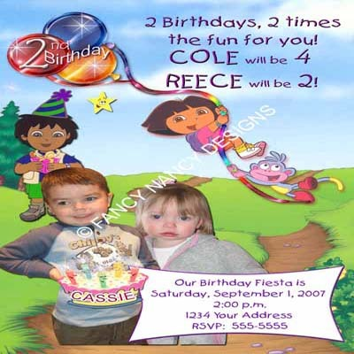 Primary image for Dora The Explorer Go Diego Go Twins Two Children's Birthday Party Invitations
