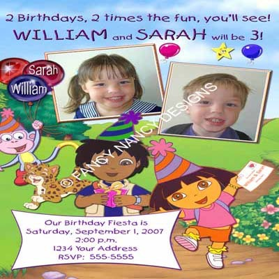 Dora The Explorer 2nd 3rd 4th 5th Girls Custom Photo Birthday Party Invitations