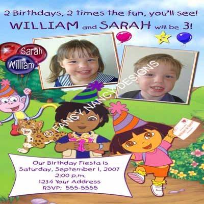Dora The Explorer Go Diego Go Rainbow Girl Boy Photo Birthday Party Invitations