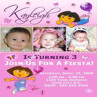 Dora The Explorer 2nd 3rd 4th 5th Girls princess Birthday Party Invitations