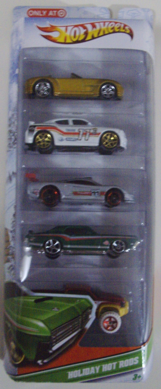Hot Wheels Christmas Holiday Hot Rods pack of 5 toy cars / trucks - New