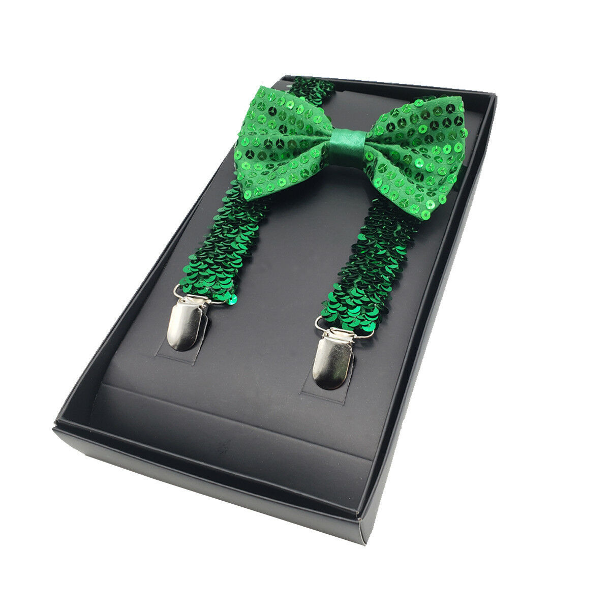Primary image for St Patricks Day Sequin Green Suspenders & Bowtie Set - Shiny Green Sequined Tie