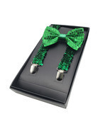 St Patricks Day Sequin Green Suspenders & Bowtie Set - Shiny Green Sequi... - $12.99