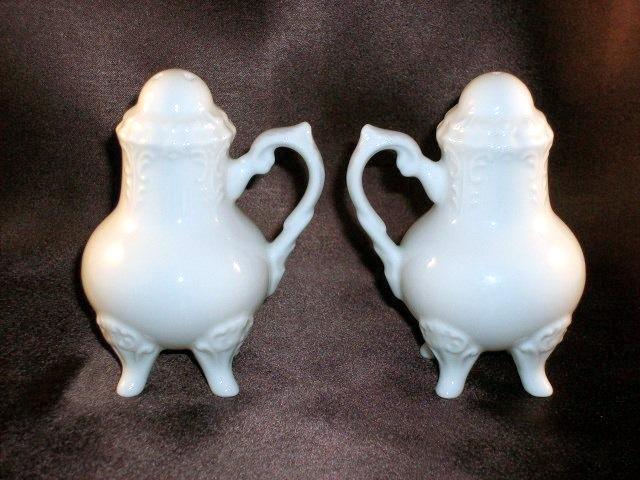 Porcelain Victorian-Style Footed Salt and Pepper Set - Beautiful!