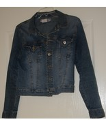 Distressed Denim Jacket Size Jr Large - $10.95