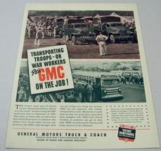 1942 Print Ad GMC Trucks & Buses WW2 Transporting Troops & War Workers - $14.10