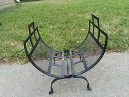 Wrought Iron Mesh Firewood Storage Rack Holder Log Holder - $34.64