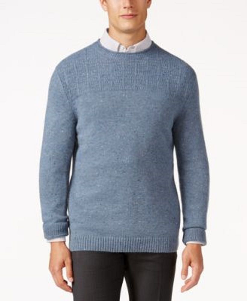 Primary image for NEW TASSO ELBA DENIM NEPTWEED DUAL TEXTURED ALPACA WOOL KNIT CREWNECK SWEATER