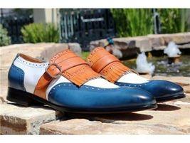 Handmade Men's Blue & White Wing Tip Fringe Monk Strap Leather Soes image 5