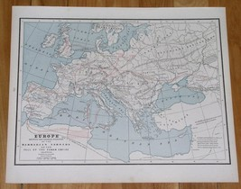 1890 MAP OF EUROPE MIGRATION PERIOD BARBARIAN INVASION ROMAN EMPIRE FALL... - $15.15