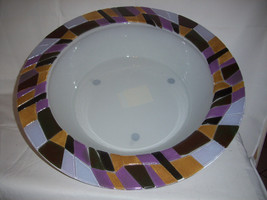 XL Glass Bowl Food Safe Deco Colour Creations Timeless Serenity Tania Br... - £30.01 GBP