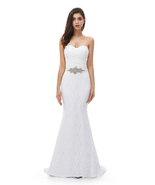 Lace Mermaid Wedding Dress Sweetheart Bridal Dresses Crystal Wedding Dre... - $175.99