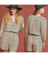 New ANTHROPOLOGIE Chelsea Romper by Beachgold  $155 Small Brown  - $61.38