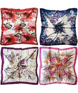 LilMents 4 Mixed Designs Large 35 × 35 Square Polyester Satin Neck Head ... - $35.41