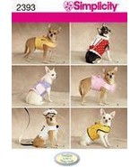 Simplicity 2393 Dinky Dog Harness Dress Clothes Pattern XXS-M - $12.99