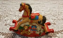 Vintage Rocking Horse Music Box Ceramic Hand Painted Christmas Rocking H... - $39.99