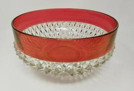 Vintage Large Cut Glass Sunburst Ruby Flashed Bowl - $28.45